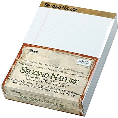 Second Nature® Legal Notepad, Legal Rule, White, Perforated, Recycled, 50 Sheets/Pad, 12 Pads/Pack, 8-1/2in. x 11-3/4in.