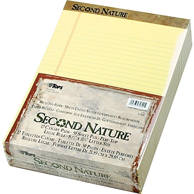 Second Nature® Legal Notepad, Legal Rule, Canary, Perforated, Recycled, 50 Sheets/Pad, 12 Pads/Pack, 8-1/2in. x 11-3/4in.
