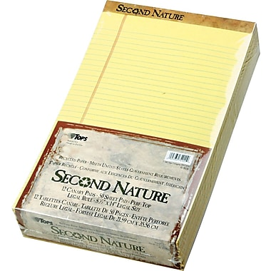 Second Nature® Legal Notepad, Legal Rule, Canary, Perforated, Recycled, 50 Sheets/Pad, 12 Pads/Pack, 8in. x 14in.