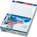 American Pride™Writing Tablet, US Flag Headtape, White, 50 Sheets/Pad, 12 Pads/Pack, 8-1/2in. x 11-3/4in.