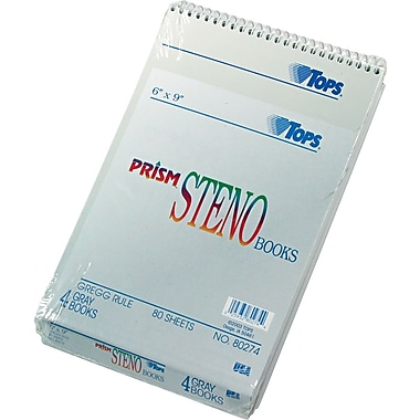 TOPS® Prism™ Steno Book, Gregg Ruled, 6in. x 9in., 80 Sheets, 4/Pack
