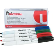Universal Pen Style Dry Erase Markers, Bullet Point, Assorted Colors, 4/Pk