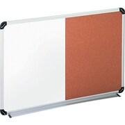 "Universal Aluminum Frame Combination Melamine/Cork Board, 24""W x 18""H (UNV43742)"
