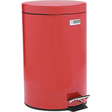 United Receptacle Medi-Can™ Steel Step Can, 3-1/2-Gallon, Powder Coated/Red