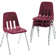 Vicro VIR901850 Plastic Stack Chair, Chrome/Wine