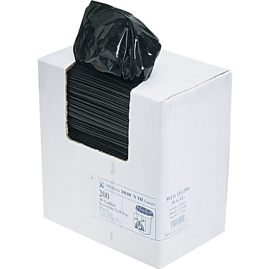 Webster 1DT200 Black Draw 'N Tie® Drawstring Trash Bags, 30 Gallon, 200 Bags/Box