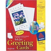 Avery® Inkjet Half-Fold Greeting Cards, White, Matte, 5 1/2 x 8 1/2