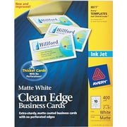 Avery® Clean Edge® 08877 Two-Side Printable Business Card, White, 400/Pack