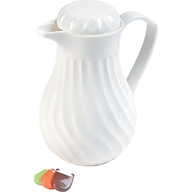 Hormel Poly Lined White Swirl Design Carafe, 40 oz.