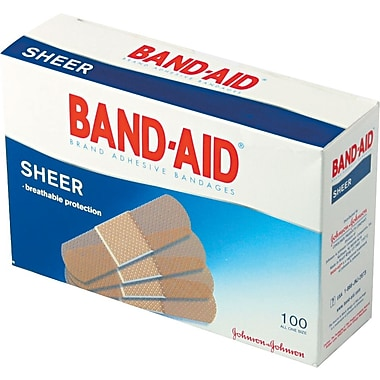 Band-Aid® Sheer Adhesive Bandages, 3/4 x 3in.