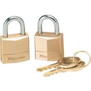 Master Lock® Twin Brass 3-Pin Tumbler Lock, 2 Keys, Brass, 2/Pack (120T)