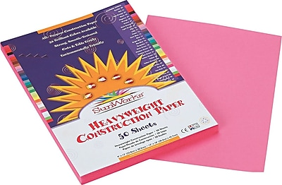 Pacon SunWorks Construction Paper 58 lbs. Pink 9 x 12 50 Sheets Pk