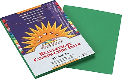 Pacon SunWorks Construction Paper 58 lbs. Holiday Green 9 x 12 50 Sheets Pk