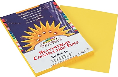 Pacon SunWorks Construction Paper 58 lbs. Yellow 9 x 12 50 Sheets Pk