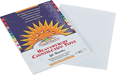 Pacon SunWorks Construction Paper 58 lbs. White 9 x 12 50 Sheets Pk