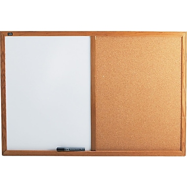 Quartet® Melamine Dry-Erase and Cork Board Combination with Oak Finish Frame, 3' x 2'