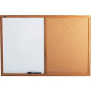 Quartet® Standard Combination Whiteboard/Cork Bulletin Board, 3' x 2', Oak Finish Frame (S553)
