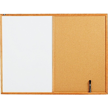 Quartet® Melamine Dry-Erase and Cork Board Combination with Oak Finish Frame, 4' x 3'