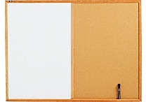 Quartet® Melamine Dry-Erase and Cork Board Combination with Oak Finish Frame, 4' x 3' (S554)