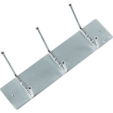 Safco 3-Hook Aluminum Wall Rack, 3in.H x 18in.W x 3 3/4in.D