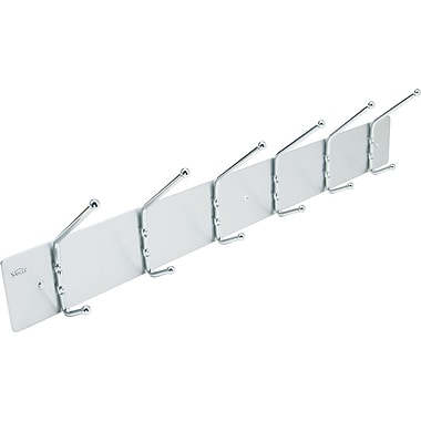Safco 6-Hook Aluminum Wall Rack, 6 3/4in.H x 36in.W x 3 3/4in.D