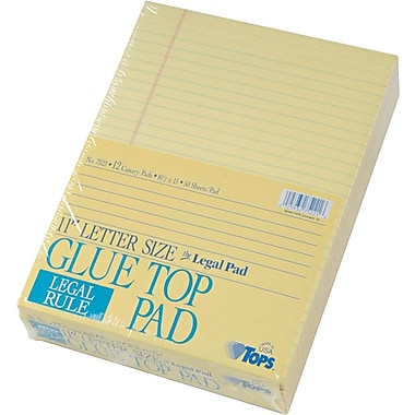 The Legal Pad™ Legal Rule, Canary, Gum Top, 50 Sheets/Pad, 12 Pads/Pack, 8-1/2in. x 11in.