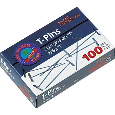 Gem T-Pins, 1 1/2in. Length, 9/16in. Head Width, 100/Bx