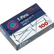 Gem T-Pins, 1 1/2 Length, 9/16 Head Width, 100/Bx