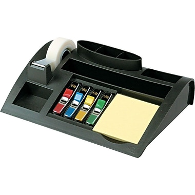 3M Weighted Black Plastic Desktop Organizer