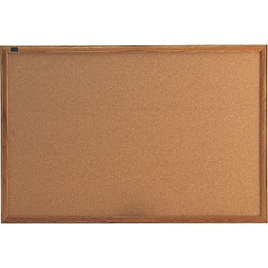 Quartet 3' x 2' Cork Bulletin Board with Oak Finish Frame