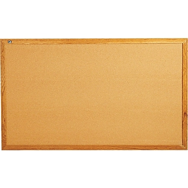 Quartet® 5' x 3' Cork Bulletin Board with Oak Finsih Frame