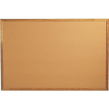 Quartet® 6' x 4' Cork Bulletin Board with Oak Finish Frame