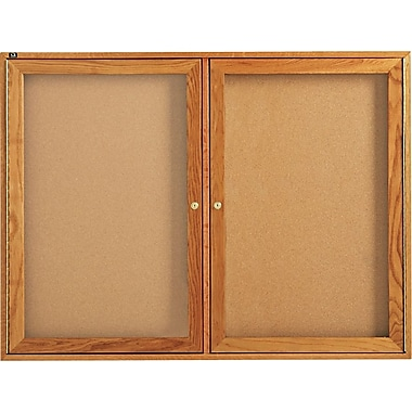 Quartet® 4' x 3' Enclosed Cork Bulletin Boards with Oak Finish Frame