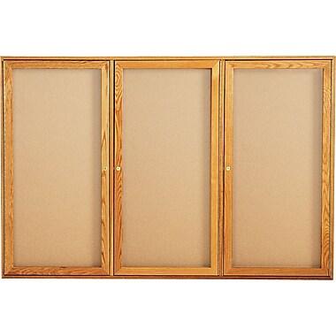 Quartet® 6' x 4' Enclosed Cork Bulletin Boards with Oak Finish Frame