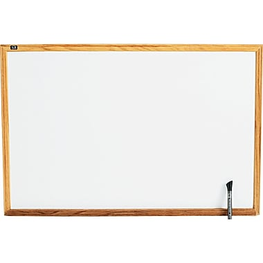 Quartet Melamine Dry-Erase Board with Oak Finish Frame, 3' x 2'
