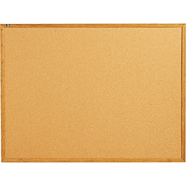 Quartet® 4' x 3' Cork Bulletin Board with Oak Finish Frame