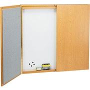 """Quartet®, 4' H X 5""""D, Magnetic Porcelain Laminate Conference Cabinet with Oak Frame Finish (838)"""