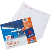 "Avery® Tab Inserts for Hanging File Folders, 3 Tab, 3-1/2"" Long"