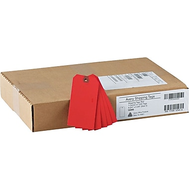 Avery® Red Tags, Unstrung, 4 3/4in. x 2 3/8in.