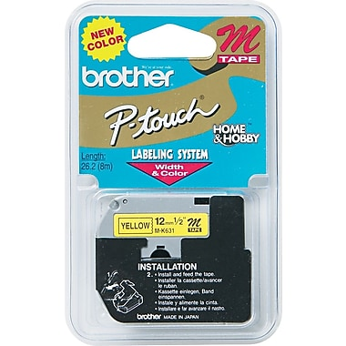 Brother Label Tape, 12mm Black on Yellow, MK631