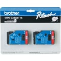 Brother 2pk 1/2in. Red on Clear tape
