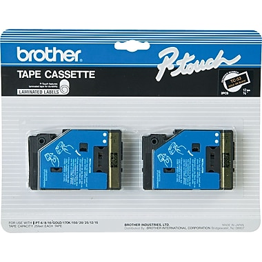 Brother 2pk 1/2in. Gold on Black tape