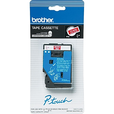 Brother 1pk 3/8in. White on Red tape