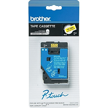 Brother 1pk 1/2in. Black on Yellow tape