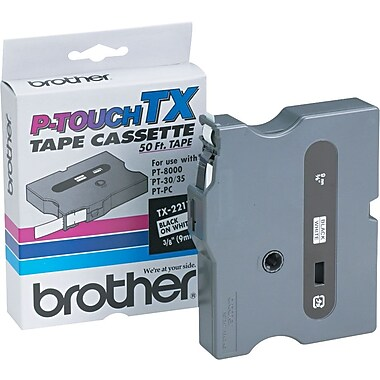 Brother 3/8in. Black on White tape
