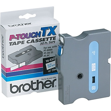Brother 1/2in. Blue on White tape