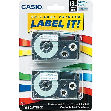 Casio Labeling Tape, 3/4in., Blue on White
