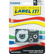 "Casio Label Tape, Iron-On, 18mm, Black on White, 3/4""W x 26'L"