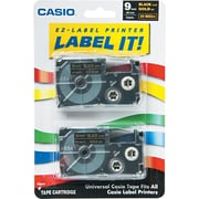 "Casio Labeling Tape, 3/8"", Gold on Black"