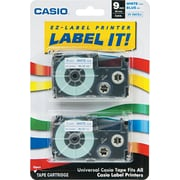 "Casio Labeling Tape, 3/8"", Blue on White"